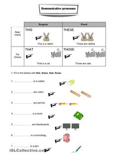 It's a simple worksheet about demonstrative pronouns with a short exercise. Grammar: Pronouns: THIS, THAT, THESE, THOSE (demonstratives) Pronoun Worksheets, Adjective Worksheet, Spanish Worksheets, English Grammar Worksheets, Letter Worksheets, 1st Grade Worksheets, Free Printable Worksheets, Worksheets For Kids, Free Printables