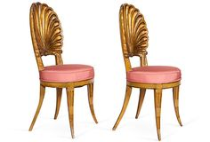 Pair of French 1920s carved gilded seashell accent chairs with Jim Thompson pink silk seat cushions