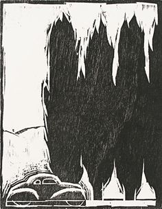 contrast: trees, car. woodblock, relief printing.