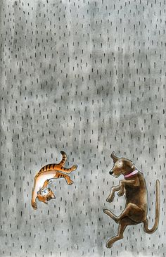 "illustraties Madelart...........AS YOU CAN SEE,  IT'S RAINING CATS AND DOGS…….AS YOUNGSTERS WE WOULD ALWAYS ADD: ""WE KNOW, WE JUST STEPPED IN A -POODLE""………ccp"