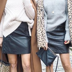 Skirting around the issue 🤔Leather vs Patent on the blog 👯👯👯   Jumpers, leather skirts, coats, cheetah, camel coat, fashion, London style bloggers, Belle & Bunty, London, fall fashion,