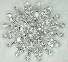Bridal Sparkling Crystal Brooch Pin RhinestonesSilver plated Embellishment  Broach DIY Wedding Bridal Bouquet Sash