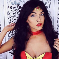 Who run the world? Check out my Halloween tutorial for this pop-art style Wonder Woman look!! ❤️❤️❤️ @Maybelline #ad