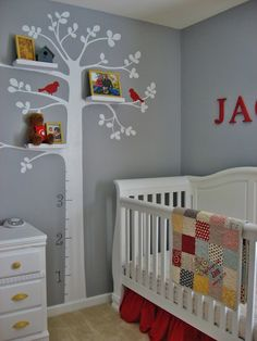 Growth chart and shelves on tree for nursery