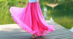 Pink A-Line Long Chiffon skirt Maxi Skirt Ladies Silk Chiffon Dress Plus Sizes Sundress