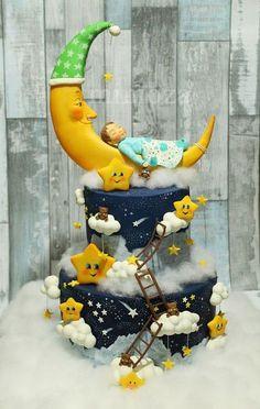 Over the moon Cake Toddler Birthday Cakes, 2 Birthday Cake, Unique Cakes, Creative Cakes, Pretty Cakes, Cute Cakes, Rodjendanske Torte, Gravity Cake, Shower Bebe