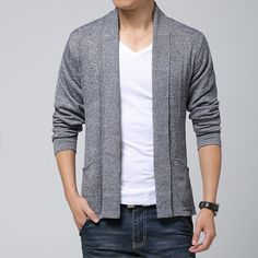 Men's open cardigan. A great casual piece to throw over your t-shirt and jeans.  Available in grey, charcoal, black, and navy.