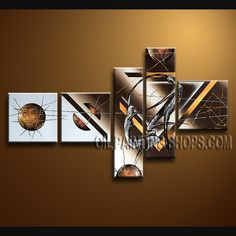 Primitive Modern Abstract Painting Oil Painting On Canvas Gallery Stretched Abstract. This 5 panels canvas wall art is hand painted by Bo Yi Art Studio, instock - $155. To see more, visit http://OilPaintingShops.com