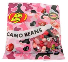 Jelly BellyPink Camo BeansJelly BeansLot of 3 BagsEach bag is oz from the makers of Jelly Belly jelly beans have filled American candy dish Taffy Candy, Jelly Bean Flavors, Online Candy Store, Biscuits, Japanese Snacks, Christmas Stocking Stuffers, Jelly Belly, Savory Snacks, Pink Camo