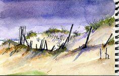 croquis aquarellé Beach Sketches, Watercolor, Colour, Painting, Art, Watercolor Painting, Sketch, The Beach, Pen And Wash