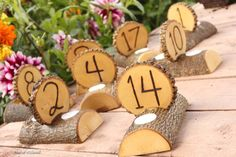 Rustic Wedding Candles/ Table Number Centerpiece Decor Combo. $12.00, via Etsy.