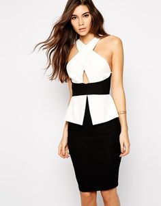 Vesper Sexy Pencil Dress with Cross Front in Monochrome