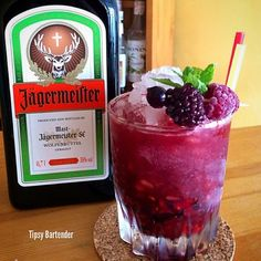 JAGERPIRINHA ~ Limes, Blackberries, Raspberries, Blueberries, 1.5 oz. (45 ml) Jagermeister, .5 oz. (15 ml) Simple Syrup