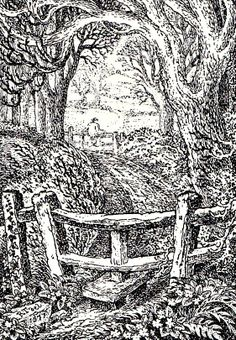 'The old Stile'. Robert Burns, Scratchboard, Anglo Saxon, Wood Engraving, Etchings, Block Prints, Stiles, Fences, Country Living