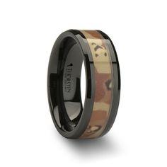 WHISKEY Beveled Black Ceramic Wedding Band Military Desert Camo 8mm