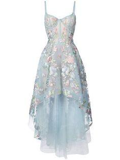 Marchesa Notte Vestido longo com bordado floral