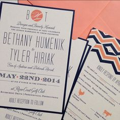 Wedding Invitation Suite // Chevron and Modern // Simple and Elegant Invite // Navy and Pink // Fun // Custom // Etsy