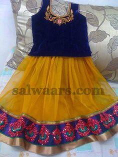 Net and Velvet Pavada for Kids - Indian Dresses Toddler Flower Girl Dresses, Little Girl Dresses, Girls Dresses, Doll Dresses, Baby Dresses, Baby Dress Design, Frock Design, Indian Dresses, Indian Outfits