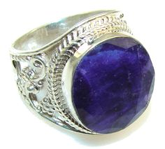 $92.77 Natural Blue Sapphire Sterling Silver Ring s. 9 1/4 at www.SilverRushStyle.com #ring #handmade #jewelry #silver #sapphire