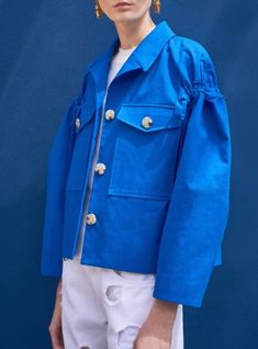 Young+British+Designers:+Daphne+Sleeve+Detail+Blue+Jacket+by+REJINA+PYO+-+An+informal+jacket+like+no+other.+Exquisite+detailing+and+standout+silhouette+makes+for+an+unmistakable+Rejina+Pyo+piece.+Photo+credit:+Victoria+Adamson