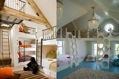 18 Rooms that Make You Wish You Were a Kid Again-- I LOVE THE BUNK BEDS ON THE LEFT. Dream vacation home.