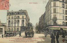 """La rue de Ménilmontant, au carrefour de la rue de la Mare et de la rue des Amandiers, vers 1900. La carte signale que """"à gauche de cette rue se trouve l'emplacement de l'ancienne Auberge du Crime""""..."""