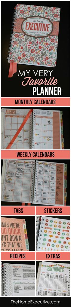 I am seriously IN LOVE with this planner!  I've bought it the last three years because it's the ONLY thing that keeps me organized in ALL areas on my life.  The weekly calendar has 5 columns so you finally have room to write in ALL of your different to-do lists.  And it has a column for meal planning and grocery lists too.  Sturdy tabs, two pages of stickers, pages of recipes, birthday tracker, budget sheets, and even a Christmas gift list. Everything!! Runs August 2015- Dec 2016.