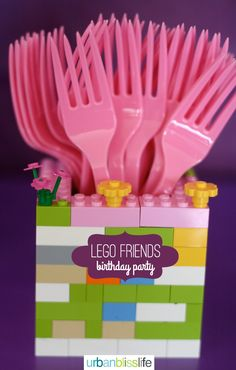 LEGO Friends Birthday Party Ideas - Love the fork holder made from Lego