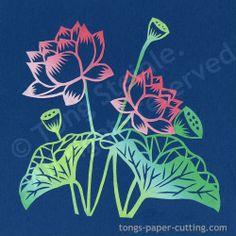 One Prints from Original Lotus Paper Cut by TongsArtStudio on Etsy, $15.96