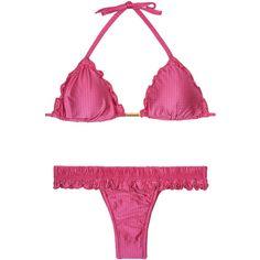 New Beach Women's swimwear Textured Iridescent Pink Triangle Bikini... ($71) ❤ liked on Polyvore featuring swimwear, bikinis, hot pink, swim suit tops, triangle bikini swimwear, triangle bikini top, hot pink bikini and hot pink swimwear