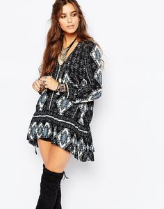 Image 1 ofFree People Down By The Bay Dress in Black Print