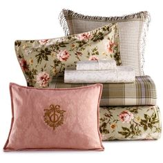 "Lauren by Ralph Lauren ""Yorkshire Rose"" Bedding ($280) ❤ liked on Polyvore featuring home, home decor, throw pillows, pillows, fillers, backgrounds, decor, furniture, geometric throw pillows and plaid home decor"