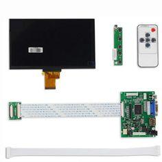1024*600 IPS Screen Display LCD TFT Monitor EJ070NA-01J with Remote Driver Control Board 2AV HDMI VGA for Raspberry Pi - $56.88