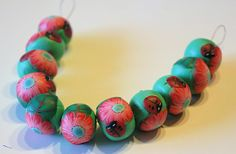 Millefiori beads with flowers and ladybugs waiting for inspiration - Polymerclay by KVJ