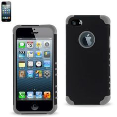 Grey Black Premium Protective Hard Silicone Case For iphone 5 5S #Unbranded