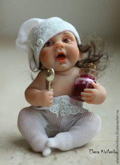 Капитолина - белый,Кукла-младенец,варенье,ложечка,prosculpt,краски масляные
