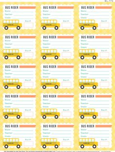 FREE printable Bus Rider labels for School Kids, Teachers, & Parents.  Designed by Erin Rippy of Ink Tree Press, free for download at World Label Blog