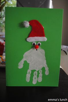 (Maybe move the eyes/hat lower onto the hand but cute either way!) (easy christmas cards for kids) Easy Christmas Crafts For Toddlers, Preschool Christmas Crafts, Classroom Crafts, Christmas Activities, Christmas Projects, Holiday Crafts, Holiday Fun, Christmas Holidays, Happy Holidays