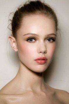 Romantic makeup. Orange-tinted lip, a little blush and mascara #beautiful