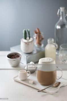 Stock Photo : Latte coffee in glass mug.