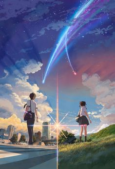 Your Name (Japanese: 君の名は。 Hepburn: Kimi no Na wa.) (commonly stylized as your name.) is a 2016 Japanese anime romantic fantasy drama film directed, written, cinematographed, and edited by Makoto Shinkai Watch Your Name, Your Name Movie, Your Name Anime, Your Name Japanese Movie, Manga Anime, Film Anime, Anime Expo, Your Name 2016, 5cm Per Second