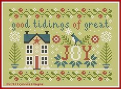 'JOY' free cross-stitch Christmas ornament chart