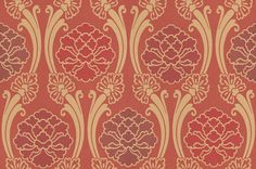 Peony (275PECHERR) - Little Greene Wallpapers - A lovely fluid trellis design around stylised peony blooms.