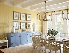 Painted credenza ideas dining room beach style with white dining chair white table lamp white dining table Yellow Dining Room, Dining Room Paint Colors, Dining Room Buffet, Country Dining Rooms, White Dining Chairs, Wooden Dining Tables, Dining Room Walls, Dining Room Lighting, Dining Room Design