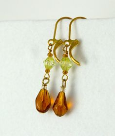 Gold Green and Amber Earrings 1311 by nenafashions on Etsy, $12.00