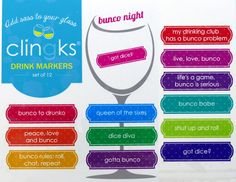 Clingks 12 Drink Markers- Bunco Night