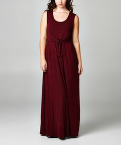 Look what I found on #zulily! Burgundy Tie-Front Maxi Dress - Plus by Tua Plus #zulilyfinds