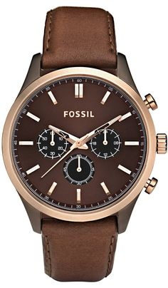 FOSSIL Walter Leather Watch - Brown FS4632 , Fossil Watch Men