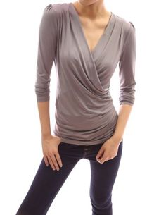 women's knit pull over, cowl neckline, 3/4 sleeves | ... Ruched V Neck Crossover Faux Wrap Long Sleeve Pullover Blouse Top