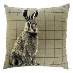 Dunelm Hare Tapestry Brown Check Cotton Cushion